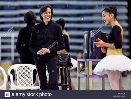 Miami City Ballet new artistic director, Lourdes Lopez, instructs Jeanette Delgado, principal dancer, while rehearsing Don Quixote Pas De Deux in Miami Beach, Fla., Friday, January 4, 2013. (Credit Image: © Gary Coronado/The Palm Beach Post/ZUMAPRESS.com)