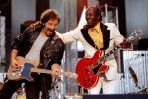 "Bruce Springstein and Chuck Berry perform ""Johnny B. Good"" to open The Concert for the Rock & Roll Hall of Fame, September 2 at Cleveland Stadium. Proceeds from the concert benefit the newly opened $92 million Rock & Roll Hall of Fame in Cleveland"