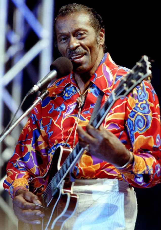 American Rock and Roll legend Chuck Berry performs during the official opening ceremony of the 4th IAAF Athletic World Championships in Stuttgart August 13
