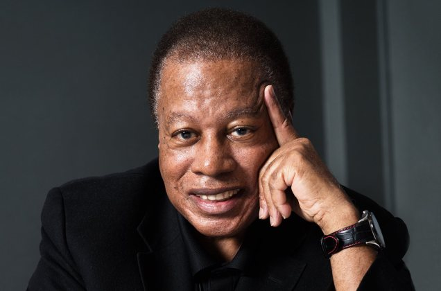 Wayne Shorter happily smiling announcing The WS Jazz Fest in Newark New Jersey