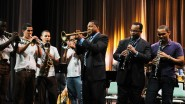 Wynton Marsalis Victor Goines Janio Abreu and music students the Rapp Castleton 2015