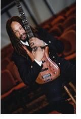 Clyde Bullard w his bass Broadway musician