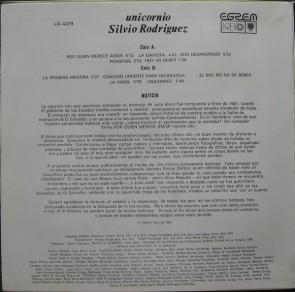 Silvio Rodriguez LP Unicornio 2 contraportada