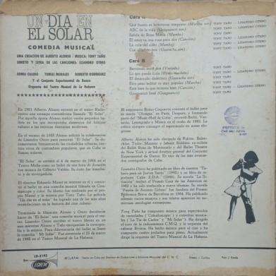 Tony Tano LP Un dia en el solar back cover