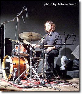 Marcello Pellitteri sitting on drums
